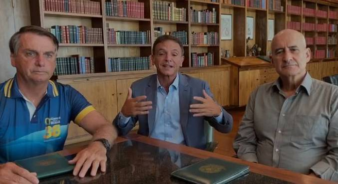 Bolsonaro, Bittar e Ramos, em encontro no Palácio da Alvorada