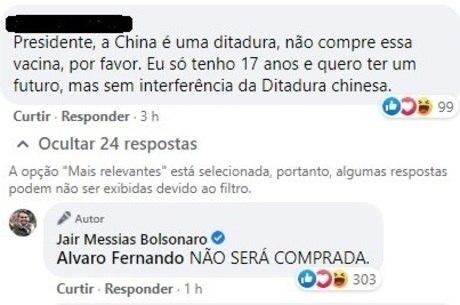 Bolsonaro responde seguidor