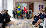 Presidente da República Jair Bolsonaro, durante encontro com o Primeiro Ministro do Reino Unido, Boris Johnson.