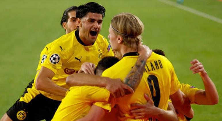 A celebração do segundo gol de Haaland em Sevilha, o seu oitavo nesta LC
