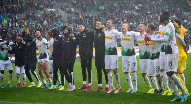 A comemoração do Borussia Moenchengladbach, classificado para a LC