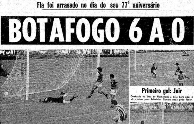 Botafogo 6 x 0 Flamengo (Brasileiro 1972): No Brasileirão de 1972, o Botafogo aplicou a goleada histórica de 6 a 0 sobre o Flamengo, no dia do aniversário de 77 anos do rival. Os gols foram marcados por Jairzinho (3), Fischer (2) e Ferretti