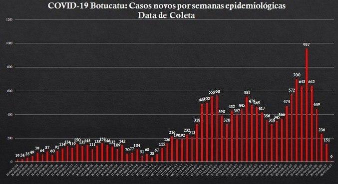 Gráfico mostra redução vertiginosa nos casos depois de junho