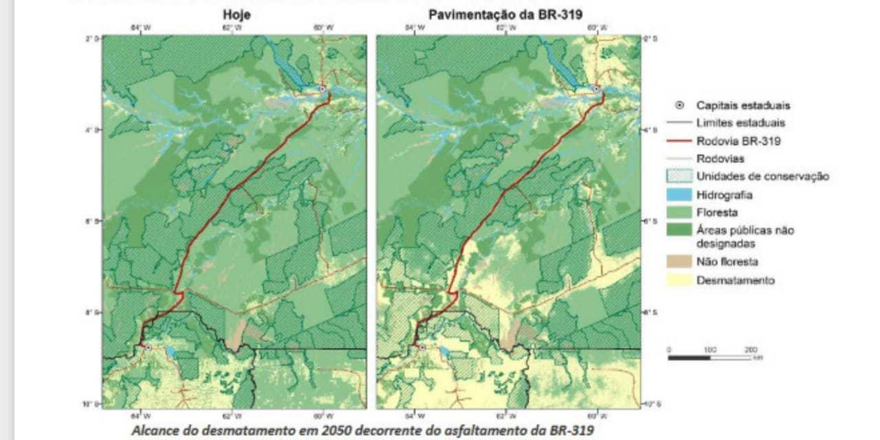 Simulação feita pela UFMG mostra impacto da pavimentação da rodovia BR-319