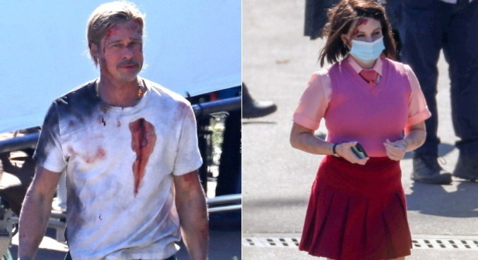 Brad Pitt e Joey King surgem com hematomas e sangue falso durante filmagem