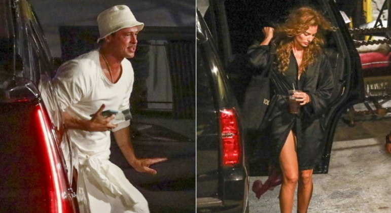 Brad Pitt, Margot Robbie e Tobey Maguire foram flagrados gravando cenas do filme Babylon no centro de Los Angeles, nos Estados Unidos