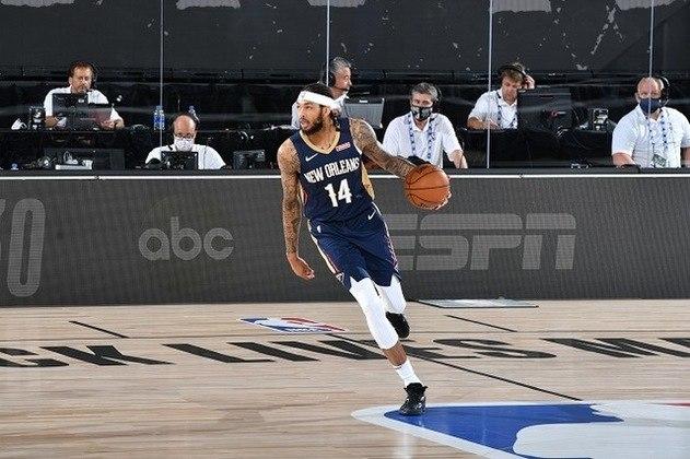 Brandon Ingram (7 votos) - Após três anos de Los Angeles Lakers, Ingram foi envolvido na negociação que levou Anthony Davis ao time californiano. Com o resultado, ele tornou-se de cara uma das principais opções ofensivas do New Orleans Pelicans, especialmente depois da lesão de Zion Williamson. Ingram faz 24.1 pontos, 6.2 rebotes e 4.2 assistências