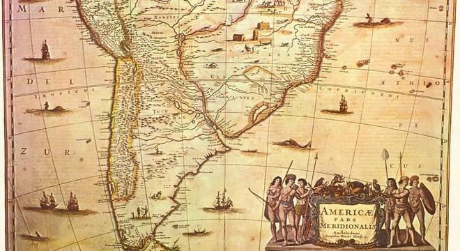 A América do Sul, num mapa do Século XVI