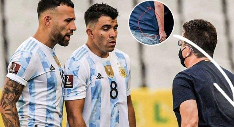 O jornal Olé flagrou um agente da polícia federal discutindo com jogadores. Ele estaria armado