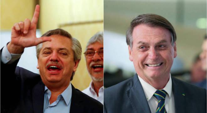 Presidente da Argentina, Alberto Fernandez e o presidente do Brasil, Jair Bolsonaro