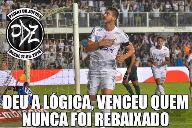 Brasileirão 2019 (09/10/2019): pelo returno, o resultado foi diferente. O Santos venceu por 2 a 0 e quem festejou foi o torcedor do Peixe