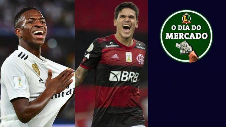 Brasileiro pode deixar o Real Madrid após mudança de regra. Flamengo estipula multa de Pedro para clubes interessados. Juventus iniciará renovação de Cristiano Ronaldo. Tudo isso e muito mais no Dia do Mercado de sábado.