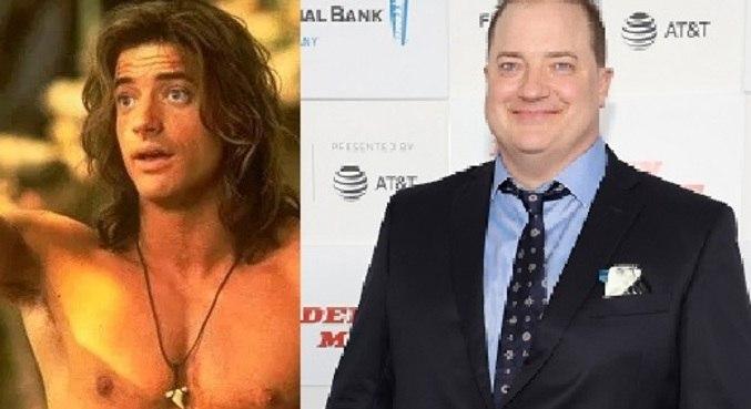 Brendan Fraser antes (a dir) e agora, à esq.