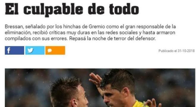 O jornal  Olé deixa claro que Bressan foi o responsável pela queda do Grêmio