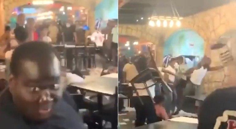 Uma briga entre duas família em um restaurante dos EUA deixou o local arrasado