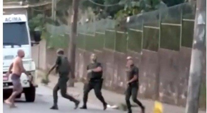 Briga entre motorista do caminhão e GCMs foi registrada em vídeo