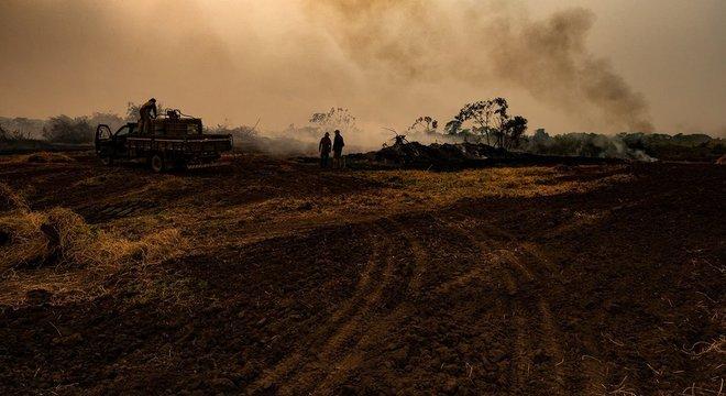Brigadistas em ação para combater o fogo no Pantanal