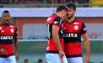 Os flamenguistas Felipe Vizeu e Rhodolfo se desentenderam durante o primeiro tempo do jogo contra o Corinthians pelo Brasileirão de 2017. O defensor chegou a dizer que 'quebraria' o companheiro no vestiário. Ambos fizeram as pazes depois da partida