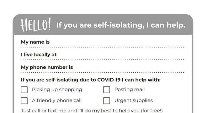 Cartão para ajudar vizinhos em isolamento oferece favores para a comunidade