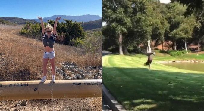 Ao celebrar decisão da justiça, Britney Spears deu cambalhotas em gramado