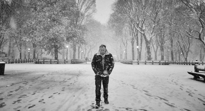 Bruce na neve do Central Park, em Nova York