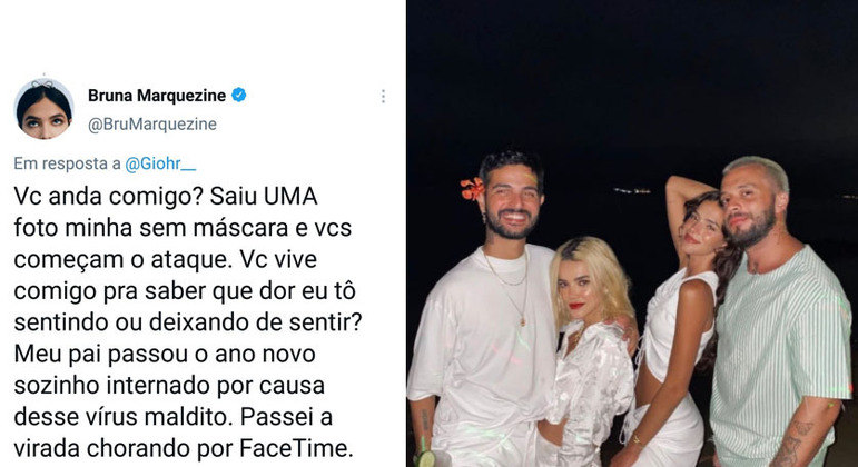 Em postagem no Twitter, Bruna diz que passou o Réveillon chorando, mas seguidores não acreditaram