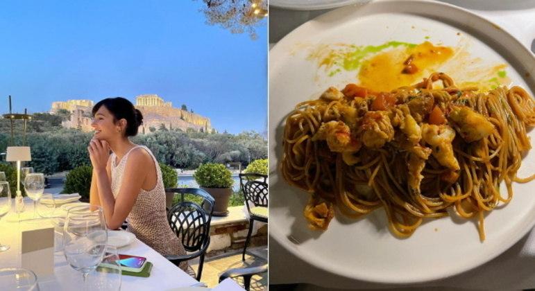 A atriz, que viajou para a Grécia a convite de uma marca de cosméticos, também publicou fotos de um jantar com cenário deslumbrante e mostrou algumas das delícias que estava comendo no país