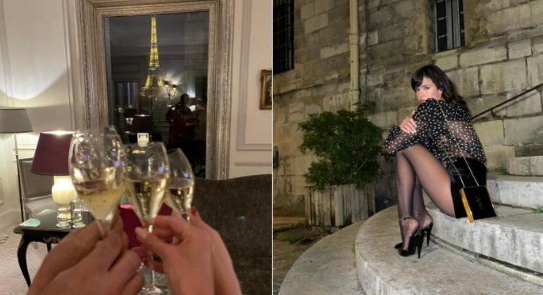 Também teve brinde no quarto do hotel com direito a vista para a Torre Eiffel. Além disso, a artista ainda mostrou o look para curtir um show na cidade