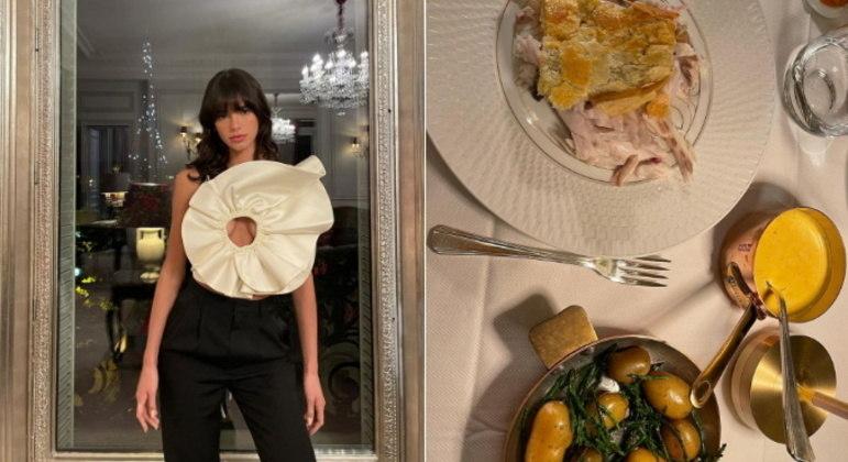 Em mais uma noite na cidade francesa, Bruna escolheu um figurino especial para curtir outro jantar no restaurante do hotel