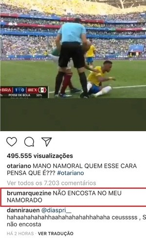 Bruna defendeu Neymar