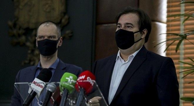 Na imagem, Bruno Covas e Rodrigo Maia