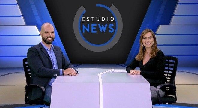 Prefeito de São Paulo, Bruno Covas, e apresentadora Tainá Falcão no Estúdio News