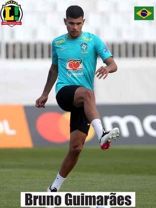 Bruno Guimarães - 6 - O meia do Lyon teve uma partida discreta, mas não comprometeu