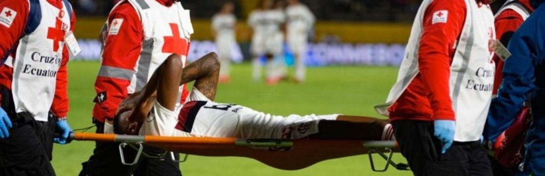 Na guerra de Quito, o alívio. Bruno Henrique não sofreu fratura (Flamengo)