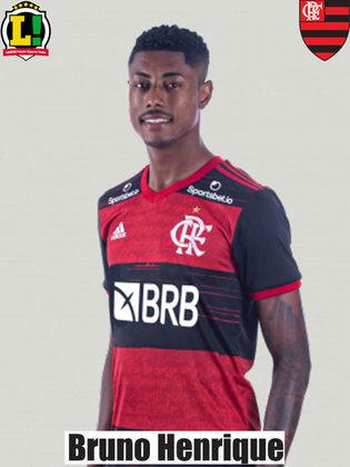 BRUNO HENRIQUE - 7,0 - O atacante fez um jogo de nível abaixo dos companheiros. Errou lances simples, segurou demais a bola em outros momentos. Mesmo assim, apareceu na área rival para marcar o quarto gol do Flamengo na partida.