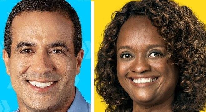 Os candidatos Bruno Reis e Major Denice