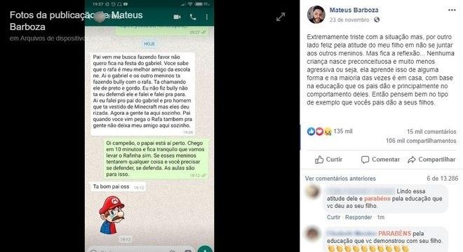 Mensagens mostram desabafo de filho sobre episódio de bullying em festa