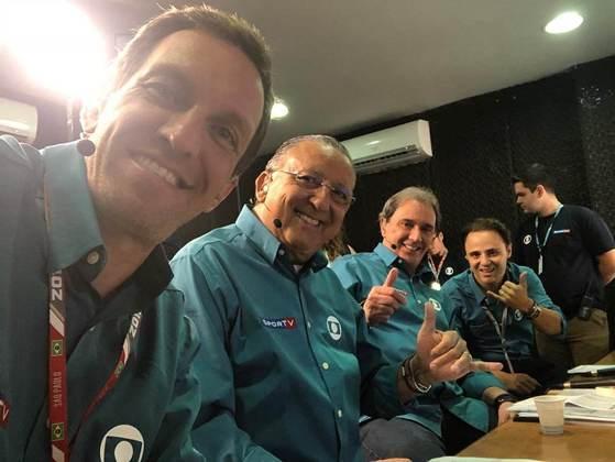 Burti, Galvão, Reginaldo e Massa em uma transmissão do GP do Brasil