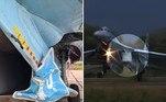 Um caça Su-27 da Força Aérea da Ucrânia