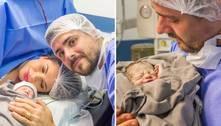 Cacau Colucci dá à luz primeiro filho, Arthur, no interior de SP