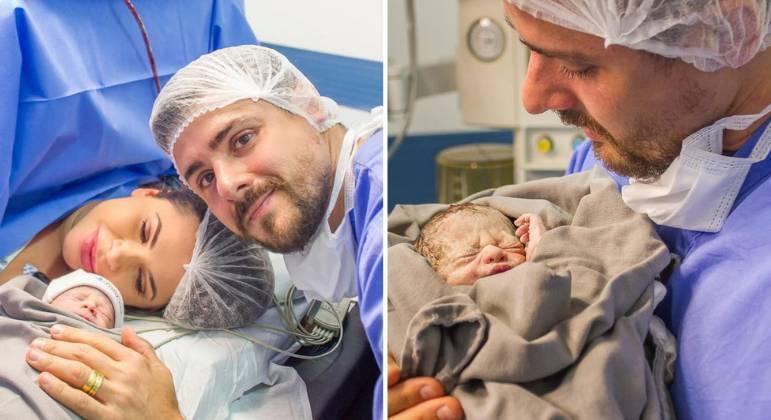 Cacau Colucci dá à luz o primeiro filho, Arthur, no interior de SP