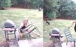 Um cachorro destrambelhado não teve o menor cuidado com a dona, ao avistar um esquilo no quintal da casa onde vivem, emAuburn, na Geórgia (EUA)