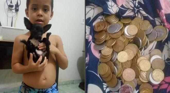 As economias de Guilherme somam R$ 18,00