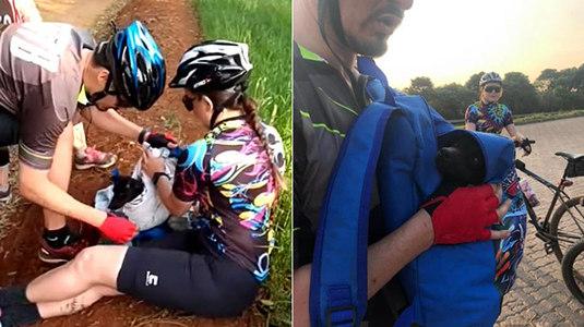 Ciclistas interrompem passeio para salvar cão abandonado em barranco (Arquivo Pessoal/Michel Bernardi)