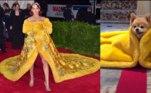 Abram alas para Rihanna e sua versão canina de vestido amarelo felpudo no tapete vermelho!