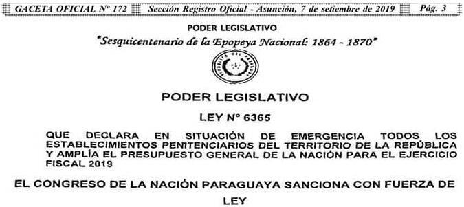 Governo do Paraguai sanciona lei que declara situação de emergência em presídios