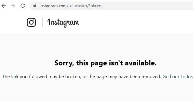 Perfil de Caio no Instagram foi desativado
