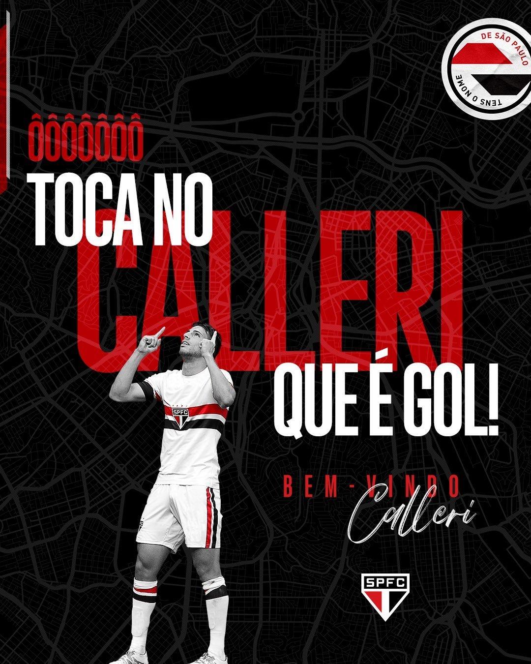 A apresentação da volta de Calleri ao Morumbi, feita pelo São Paulo. Já mostra a devoção