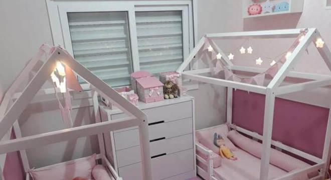 Cama casinha montessoriana para quarto de meninas
