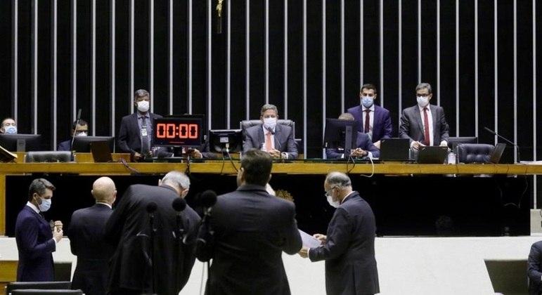 Presidente da Câmara, deputado Arthur Lira (PP - AL), durante sessão no plenário da Câmara dos Deputados